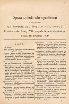 [Kadencja VII, sesja V, pos. 9] Sprawozdanie Stenograficzne z Rozpraw Galicyjskiego Sejmu Krajowego. 9. Posiedzenie 5. Sesyi VII. Peryodu Sejmu Galicyjskiego