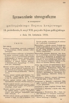 [Kadencja VII, sesja V, pos. 14] Sprawozdanie Stenograficzne z Rozpraw Galicyjskiego Sejmu Krajowego. 14. Posiedzenie 5. Sesyi VII. Peryodu Sejmu Galicyjskiego