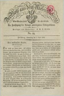 Der Bote aus dem Riesen-Gebirge : als Fortsetzung der Königl. privilegirten Gebirgsblätter : eine Wochenschrift für alle Stände. Jg.19, No. 14 (7 April 1831) + dod.