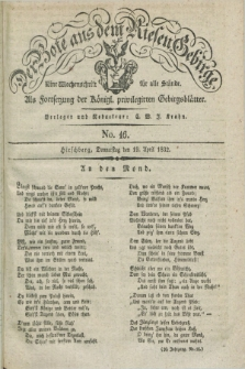 Der Bote aus dem Riesen-Gebirge : als Fortsetzung der Königl. privilegirten Gebirgsblätter : eine Wochenschrift für alle Stände. Jg.20, No. 16 (19 April 1832) + dod.