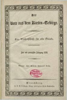 Der Bote aus dem Riesen-Gebirge : als Fortsetzung der Königl. privilegirten Gebirgsblätter : eine Wochenschrift für alle Stände. Jg.22, No. 1 (2 Januar 1834) + dod.