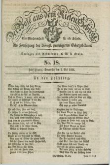 Der Bote aus dem Riesen-Gebirge : als Fortsetzung der Königl. privilegirten Gebirgsblätter : eine Wochenschrift für alle Stände. Jg.22, No. 18 (1 Mai 1834) + dod.