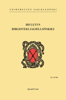 The Jagiellonian Library Bulletin. Vol. 68, 2018 [entirety]