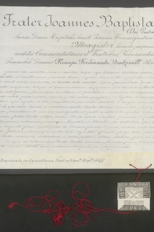 Dokument zakonu joannitów dotyczący przyjęcia księcia Ferdynanda Radziwiłła do grona honorowych rycerzy zakonu