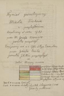 """""""Wymiar geometryczny miasta Krakowa z przyległościami, dopełniony w roku 1783 przez M. Józefa Kromera, jeometrę przysięgłego"""""""