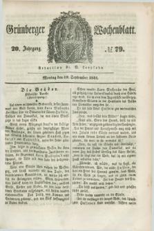 Gruenberger Wochenblatt. Jg.20, №. 79 (30 September 1844) + dod.