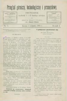 Przegląd Górniczy, Technologiczny i Przemysłowy. R.1, nr 5 (1 sierpnia 1889)