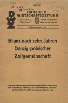 Danziger Wirtschaftszeitung. [Jg.12], Bilanz nach zehn Jahren Danzig-polnischer Zollgemeinschaft (28 Juni 1932)