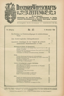 Danziger Wirtschaftszeitung. Jg.14, Nr. 45 (9 November 1934)