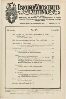 Danziger Wirtschaftszeitung. Jg.15, Nr. 25 (21 Juni 1935)