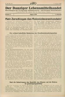 Der Danziger Lenbensmittelhandel : Mitteilungen der Fachgruppe Kolonialwaren- und Feinkost-Einzelhandel. Jg.3, Nr. 8 (7 August 1936)