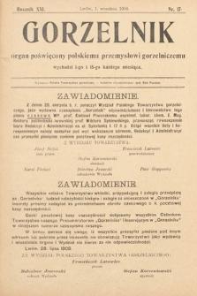 Gorzelnik : organ poświęcony polskiemu przemysłowi gorzelniczemu. R. 21, 1908, nr17