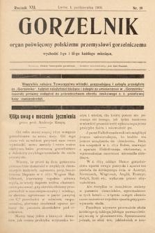 Gorzelnik : organ poświęcony polskiemu przemysłowi gorzelniczemu. R. 21, 1908, nr19