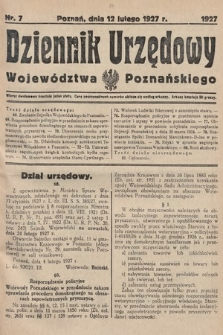Dziennik Urzędowy Województwa Poznańskiego. 1927, nr7