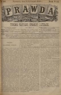 Prawda : tygodnik polityczny, społeczny i literacki. 1888, nr33