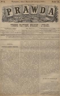 Prawda : tygodnik polityczny, społeczny i literacki. 1889, nr9