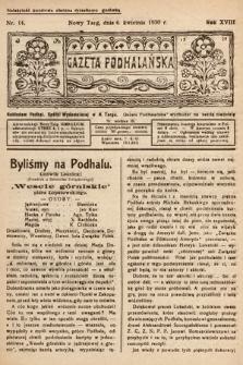 Gazeta Podhalańska. 1930, nr14