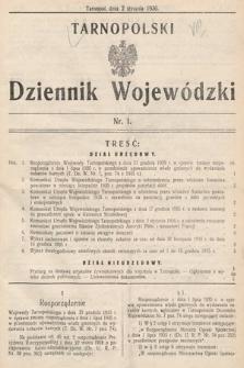 Tarnopolski Dziennik Wojewódzki. 1936, nr1