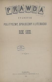 Prawda : tygodnik polityczny, społeczny i literacki. 1903, Spis rzeczy