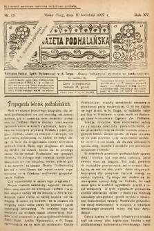 Gazeta Podhalańska. 1927, nr15