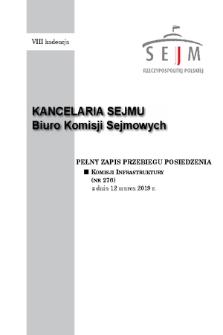 Pełny Zapis Przebiegu Posiedzenia Komisji Infrastruktury (Nr276) z dnia 12 marca 2019 r.