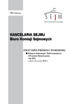 Pełny Zapis Przebiegu Posiedzenia Komisji Samorządu Terytorialnego i Polityki Regionalnej (nr273) z dnia 12 marca 2019 r.