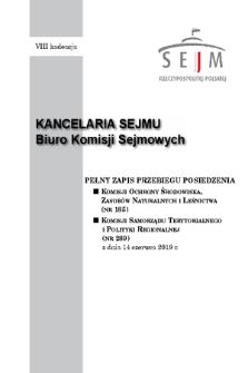 Pełny Zapis Przebiegu Posiedzenia Komisji Samorządu Terytorialnego i Polityki Regionalnej (nr289) z dnia 14 czerwca 2019 r.