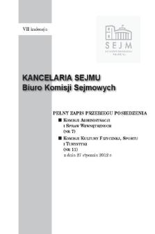 Pełny Zapis Przebiegu Posiedzenia Komisji Kultury Fizycznej, Sportu i Turystyki (nr 11) z dnia 27 stycznia 2012 r.