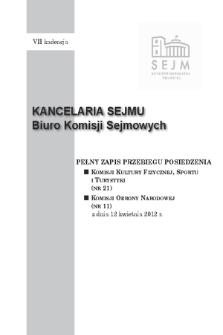 Pełny Zapis Przebiegu Posiedzenia Komisji Kultury Fizycznej, Sportu i Turystyki (nr 21) z dnia 12 kwietnia 2012 r.