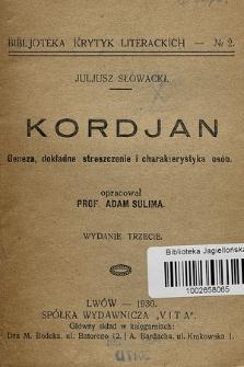 Juliusz Słowacki - Kordjan : (komentarz) : geneza, dokładne streszczenie i charakterystyka osób