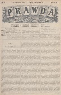 Prawda : tygodnik polityczny, społeczny i literacki. 1887, nr4