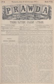 Prawda : tygodnik polityczny, społeczny i literacki. 1887, nr5