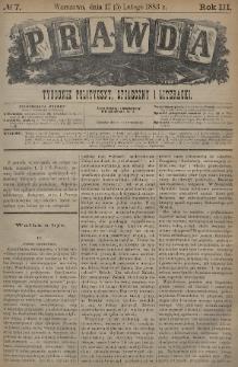 Prawda : tygodnik polityczny, społeczny i literacki. 1883, nr7