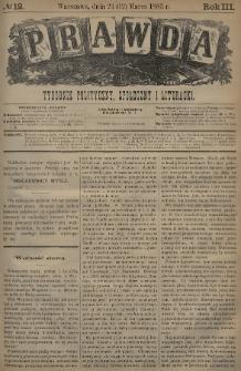 Prawda : tygodnik polityczny, społeczny i literacki. 1883, nr12