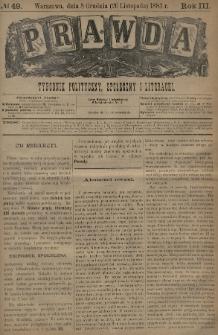 Prawda : tygodnik polityczny, społeczny i literacki. 1883, nr49