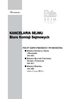 Pełny Zapis Przebiegu Posiedzenia Komisji Kultury Fizycznej, Sportu i Turystyki (nr 121) z dnia 8 maja 2014 r.