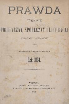 Prawda : tygodnik polityczny, społeczny i literacki. 1884, Spis rzeczy