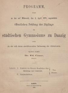Programm des städtischen Gymnasiums zu Danzig. 1873