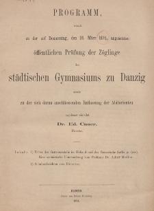 Programm des städtischen Gymnasiums zu Danzig. 1874