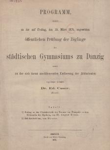 Programm des städtischen Gymnasiums zu Danzig. 1875