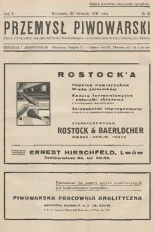Przemysł Piwowarski : organ Centralnego Związku Przemysłu Piwowarskiego i Słodowniczego w Rzeczypospolitej Polskiej. R.9, 1931, №48