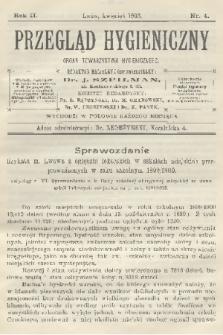 Przegląd Hygieniczny : organ Towarzystwa Hygienicznego. R.2, 1903, nr4