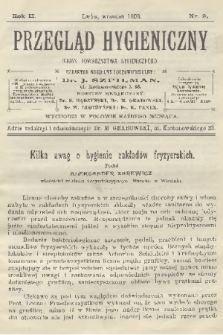 Przegląd Hygieniczny : organ Towarzystwa Hygienicznego. R.2, 1903, nr9