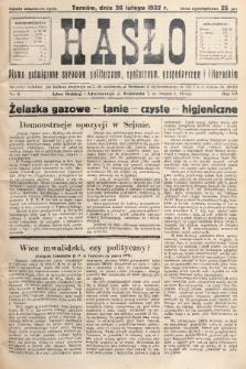 Hasło : pismo poświęcone sprawom politycznym, społecznym, gospodarczym i literackim. R.7, 1932, nr9