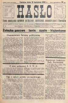 Hasło : pismo poświęcone sprawom politycznym, społecznym, gospodarczym i literackim. R.7, 1932, nr16
