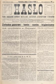 Hasło : pismo poświęcone sprawom politycznym, społecznym, gospodarczym i literackim. R.7, 1932, nr27