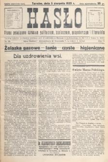 Hasło : pismo poświęcone sprawom politycznym, społecznym, gospodarczym i literackim. R.7, 1932, nr30