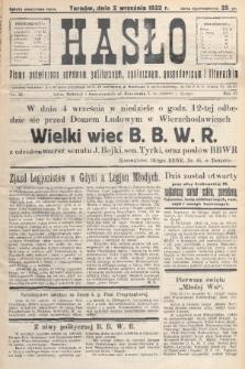 Hasło : pismo poświęcone sprawom politycznym, społecznym, gospodarczym i literackim. R.7, 1932, nr32