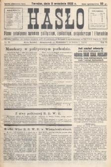 Hasło : pismo poświęcone sprawom politycznym, społecznym, gospodarczym i literackim. R.7, 1932, nr33