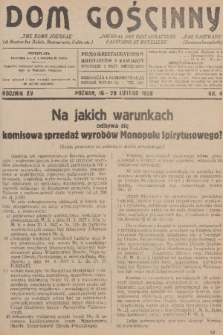 Dom Gościnny : pismo dla restauratorów, hotelistów i kawiarzy, R.15, 1928, nr4 + dod.